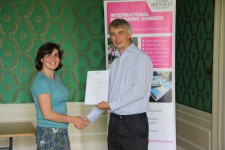 Valentina Letunova receiving her certificate from Angus Phillips