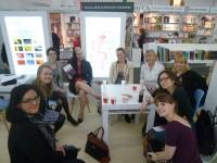 Students visiting the Palgrave Macmillan Stand