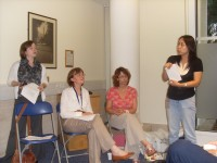 Tong Chang translates for OUP's Philippa Payne, Elspeth Boardley, Amanda Harvey