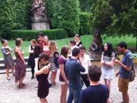 A gathering outside the Villa Finaly