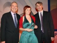 Gyles Brandreth, Emily Gravett & Angus Phillips at the British Book Design and Production Awards 08